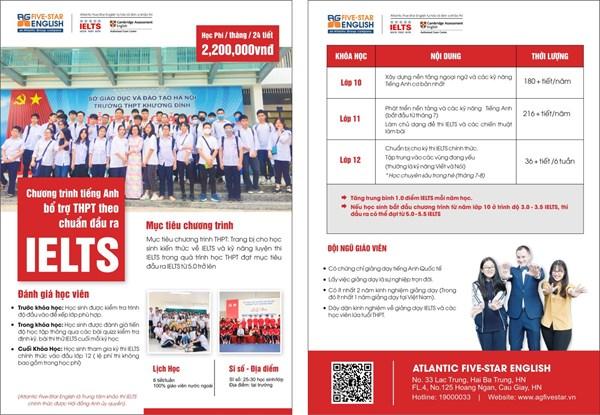 Thông báo tuyển sinh lớp IELTS năm học 2021 -2022 của trung tâm Atlantic Five-Star English