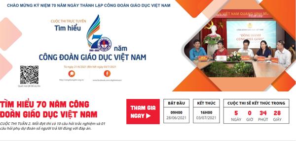 """Cuộc thi trực tuyến """"Tìm hiểu 70 năm Công đoàn Giáo dục Việt Nam"""