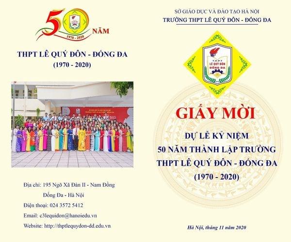 Giấy mời dự kỷ niệm 50 năm thành lập trường (1970 - 2020)