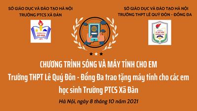 Lan tỏa yêu thương trong mùa dịch, trao tặng máy tính bảng cho các em học sinh trường PTCS Xã Đàn - Đống Đa - Hà Nội