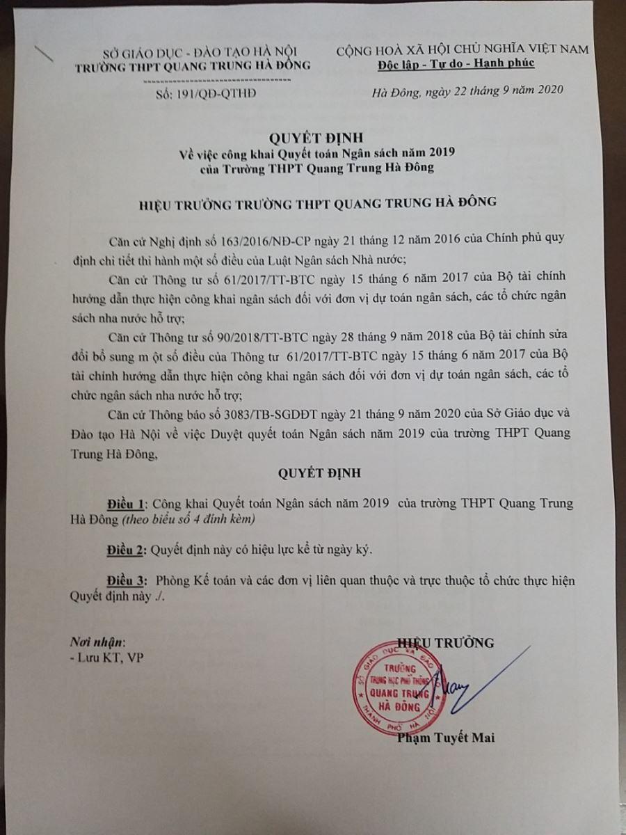 Công khai quyết toán ngân sách năm 2019 trường THPT Quang Trung Hà Đông
