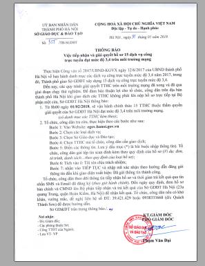 Công văn số 355/TB-SGDĐT ngày 31/01/2018 về việc tiếp nhận và giải quyết hố sơ 15 dịch vụ công trực tuyến đạt mức độ 3, 4 trên môi trường mạng của Sở Giáo dục và Đào tạo Hà Nội